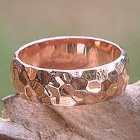 Rose gold plated band ring, 'Rose Mosaic' - Textured 18k Rose Gold Plated Sterling Silver Band Ring