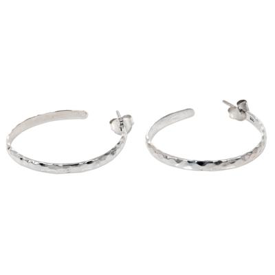 Hand Crafted Sterling Silver Half Hoop Earrings from Bali