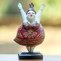 Wood statuette, 'Ballet Dancer V' - Artisan Crafted Wood Statuette of Full Figured Ballerina