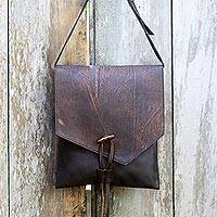 Leather cross-body bag, 'Makassar Coffee' - Fair Trade Weathered Brown Leather Cross Body Handbag