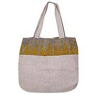 Cotton and rayon tote bag, Olive Forest