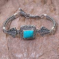 Turquoise pendant bracelet, 'Dragon Shrine' - Hand Crafted Turquoise and Sterling Silver Bracelet