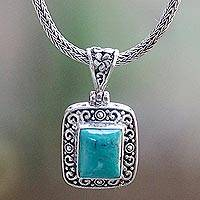 Turquoise pendant necklace, 'Deep Impact' - Hand Crafted Turquoise and Sterling Silver Pendant Necklace