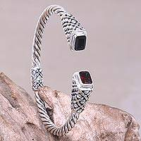 Gold accent garnet cuff bracelet, 'Grand Belle' - Garnet and Gold Accents on 925 Sterling Silver Cuff Bracelet
