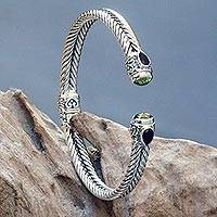 Garnet and peridot cuff bracelet, 'Flower Buds' - Braided Sterling Silver Cuff with Peridot and Garnet Gems