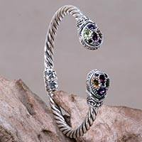 Multigem cuff bracelet, 'Sukawati Glamour' - Indonesian Sterling Silver Cuff with Four Gemstones
