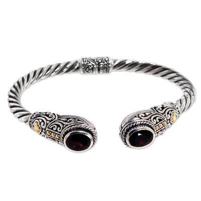 Handmade Balinese Garnet Cuff Bracelet