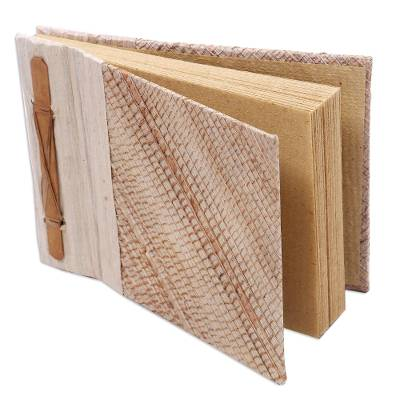 Natural fiber notebook, 'Banana Cream' - Artisan Crafted Natural Fiber Notebook with 40 Blank Pages
