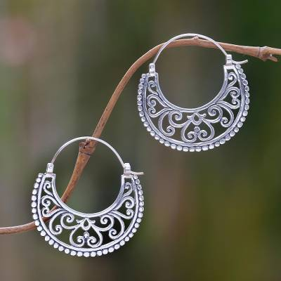 Sterling silver hoop earrings, 'Moonlit Garden' - Balinese Style Sterling Silver Crescent Hoop Earrings