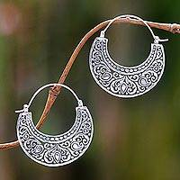 Sterling silver hoop earrings, 'Garden of Eden' - Ornately Detailed Sterling Silver 925 Hoop Earrings