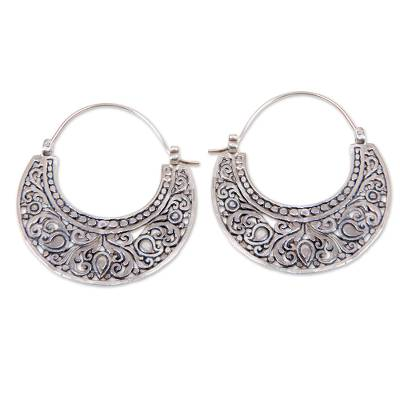 Unique Sterling Silver 925 Hoop Earring from Bali
