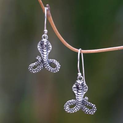 Sterling silver dangle earrings, 'Hooded Cobra' - Unique Hooded Cobra Dangle Earrings in Sterling Silver