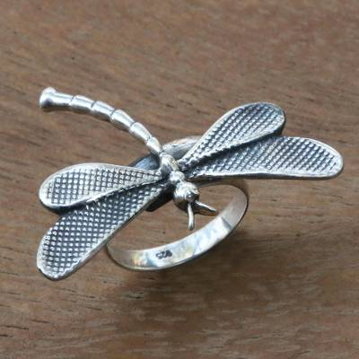 Bali Dragonfly Theme Artisan Crafted Sterling Silver Ring