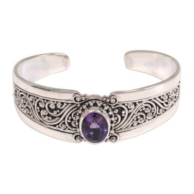 Amethyst and Sterling Silver Balinese Style Cuff Bracelet