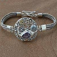 Multi-gemstone pendant bracelet, 'Royal Dolphin' - Hand Crafted 925 Sterling Silver Herringbone Bracelet with S