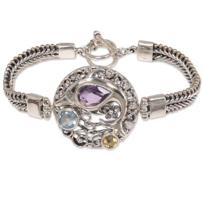 Sterling Silver and Gemstone Dolphin Themed Bracelet