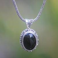 Onyx pendant necklace, Darkest Night