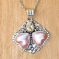 Cultured mabe pearl and citrine pendant necklace,