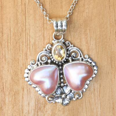Cultured mabe pearl and citrine pendant necklace, 'Hearts Aglow' - Heart Shaped Pink Mabe Pearl Pendant Necklace with Citrine