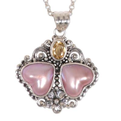 Heart Shaped Pink Mabe Pearl Pendant Necklace with Citrine