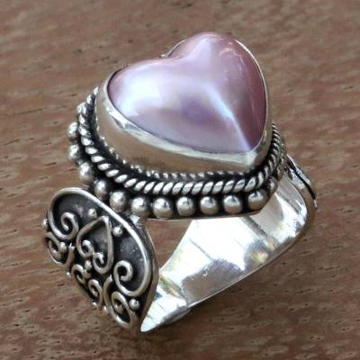 Romantic Heart Shaped Pink Cultured Mabe Pearl Ring