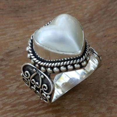 mens silver cross - Ornate Cocktail Ring with Heart Shaped White Mabe Pearl