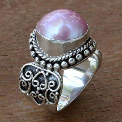 bridal ring set - Artisan Crafted Pink Mabe Pearl Cocktail Ring from Bali