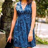 Batik dress, 'Blue Ocean Dream' - Short Sleeveless Blue Dress in Hand Stamped Batik
