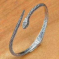 Gold accent sterling silver bracelet, 'Earth Serpent' - Realistic Sterling Silver Snake Bracelet with 18k Gold Eyes