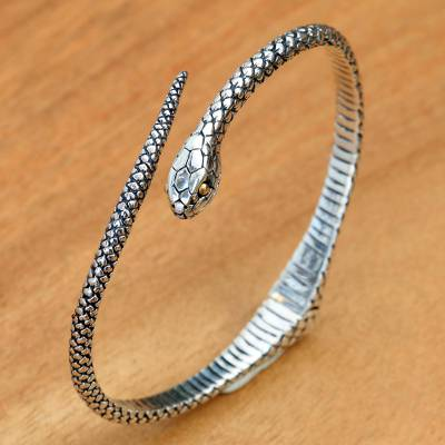 Gold accent sterling silver cuff bracelet, 'Earth Serpent' - Realistic Sterling Silver Snake Bracelet with 18k Gold Eyes