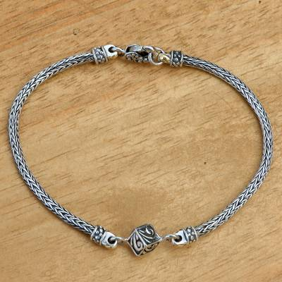 Sterling silver pendant bracelet, 'Bali Dice' - Naga Chain Bracelet Handmade with 925 Silver 18k Gold Accent