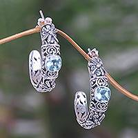 Blue topaz half-hoop earrings, 'Frangipani Dragonflies' - Balinese Blue Topaz Half Hoop Earrings in Sterling Silver