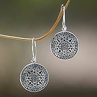 Sterling silver dangle earrings, 'Abundant Beauty' - Ornate Indonesian Handcrafted Sterling Silver Earrings