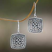 Sterling silver dangle earrings, 'Ornate Tendrils' - Sterling Silver Artisan Handcrafted Balinese Earrings