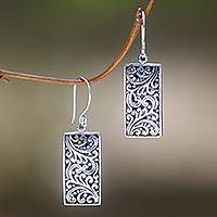 Sterling silver dangle earrings, 'Fern Goddess' - Sterling Silver Artisan Handcrafted Balinese Earrings