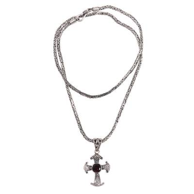 Garnet and Sterling Silver Necklace with Cross Pendant