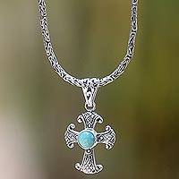 Silver and turquoise pendant necklace, 'Holy Sacrifice in Turquoise' - Artisan Crafted Sterling Silver Necklace with Cross Pendant
