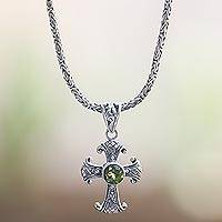 Peridot pendant necklace, 'Holy Sacrifice in Green' - Peridot and Sterling Silver Necklace with Cross Pendant
