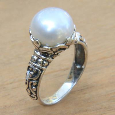 Artisan Crafted Cultured Pearl and Sterling Silver Ring
