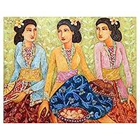 'Let's Pray' - Original Acrylic Painting of Balinese Women on Canvas