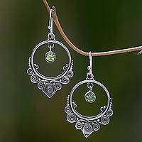 Peridot dangle earrings, 'Opulence' - Ornate Sterling Silver Dangle Earrings with Peridot