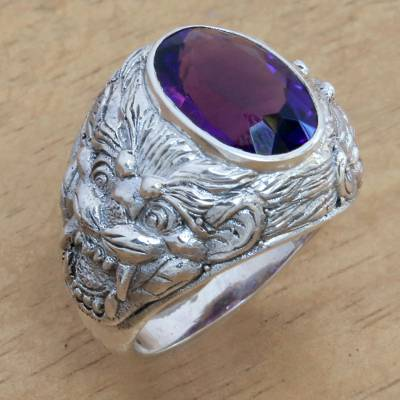 Amethyst men's ring, 'Benevolent Barong' - Barong Theme Men's Sterling Silver and Amethyst Ring