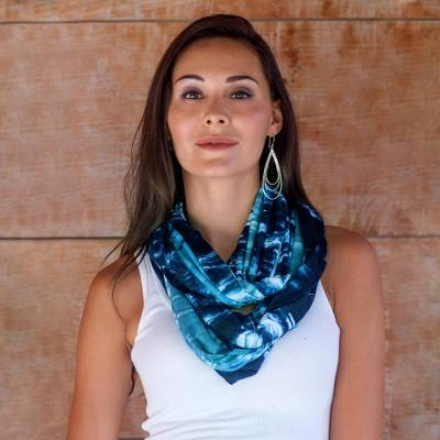 Rayon infinity scarf, 'Bali Sky' - Women's Long Tied Dyed Blue Infinity Scarf from Bali