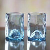 Recycled drinking glasses, 'Blue Sky' (Pair) - Handcrafted Recycled Drinking Glasses (Pair)