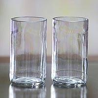 Recycled Drinking Glasses, 'Clear Sky' (pair) - Artisan Crafted Recycled Clear Drinking Glasses (Pair)