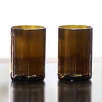 Recycled glass tumblers, 'Tawny Brown' (pair) - Handmade Balinese Recycled Brown Tumblers (Pair)