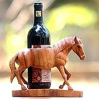 Wood bottle holder, 'Sumbawa Horse' - Hand Carved Suar Wood Horse Bottle Holder from Bali