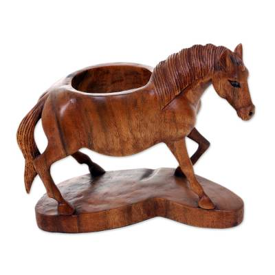 Hand Carved Suar Wood Horse Bottle Holder from Bali