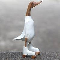 Wood sculpture, 'Duck in White Roller Skates' (18 inch) - Bamboo and Acacia Wood Duck Statuette from Java (18 Inch)
