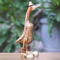 Wood sculpture, Uncle Duck in Boots and Hat (16 inch)